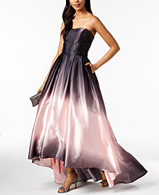 Betsy & Adam Printed Ombré Halter Gown