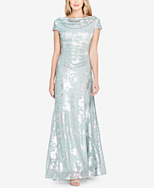 Tahari ASL Metallic-Print Draped Gown