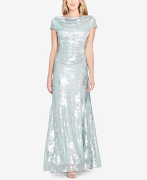 COWL-NECK METALLIC CAP-SLEEVE GOWN