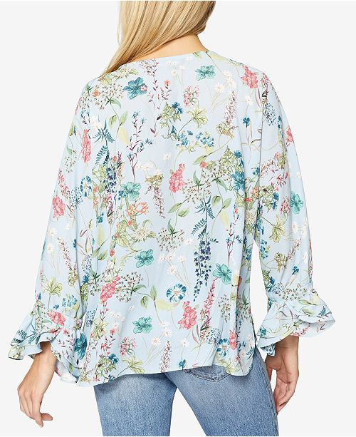 Floral Popsey Ruffled Print Sanctuary Blouse Bluebell 7ZYWq