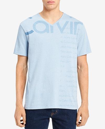 Calvin Klein Jeans Men's Logo-Print V-Neck T-Shirt