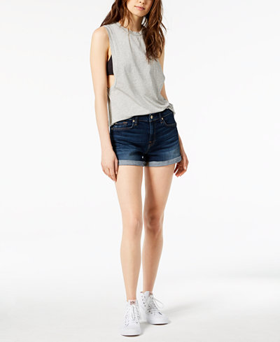 7 For All Mankind Roll-Up Cotton Denim Shorts