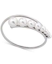 Majorica Sterling Silver Imitation Pearl Graduated Wrap Bangle Bracelet