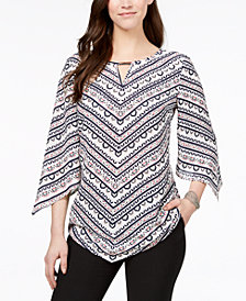 JM Collection Keyhole Pointed-Hem Tunic, Created for Macy's