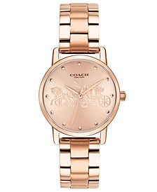 Women's Grand Rose Gold-Tone Stainless Steel Bracelet Watch 28mm