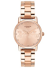 COACH Women's Grand Rose Gold-Tone Stainless Steel Bracelet Watch 28mm