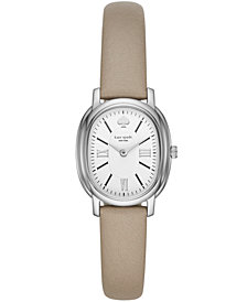 kate spade new york Women's Staten Gray Leather Strap Watch 25x33mm
