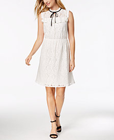 Monteau Petite Tie-Neck Lace Dress, Created for Macy's