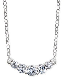"Diamond Curved Bar 18"" Statement Necklace (1/2 ct. t.w.) in 14k White Gold"