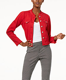I.N.C. International Concepts Puffed-Shoulder Cropped Denim Jacket, Created for Macy's