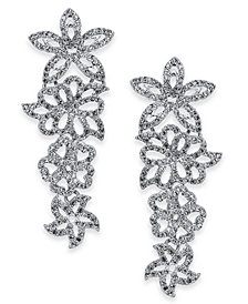I.N.C. Woman Silver-Tone Pavé Flower Statement Earrings, Created for Macy's