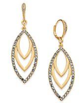 I.N.C. Gold-Tone Pavé Navette Drop Earrings, Created for Macy's