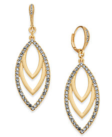 I.N.C. Gold-Tone Pavé Navette Drop Earrings, Created for Macy's