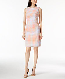 Calvin Klein Cotton Gingham-Print Sheath Dress