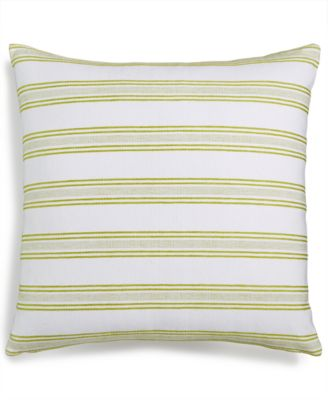 """LAST ACT! Indis Green 22"""" Square Stripe Decorative Pillow, Created for Macy's"""