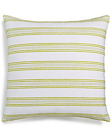 "LAST ACT! Lacourte Indis Green 22"" Square Stripe Decorative Pillow, Created for Macy's"