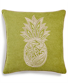 "Lacourte Soutache Pineapple 16"" Square Embroidered Chenille Decorative Pillow, Created for Macy's"