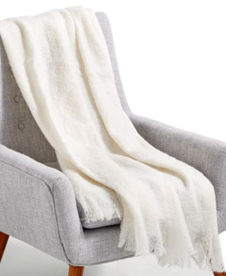 """LAST ACT! Mohair White 50"""" x 60"""" Throw, Created for Macy's"""