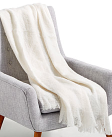 "LAST ACT! Lacourte Mohair White 50"" x 60"" Throw, Created for Macy's"