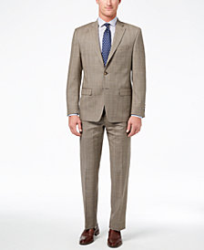 CLOSEOUT! Lauren Ralph Lauren Men's Slim-Fit Ultraflex Stretch Tan Check Suit Separates