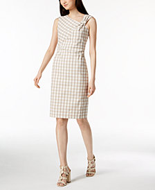Calvin Klein Gingham Knotted Sheath Dress