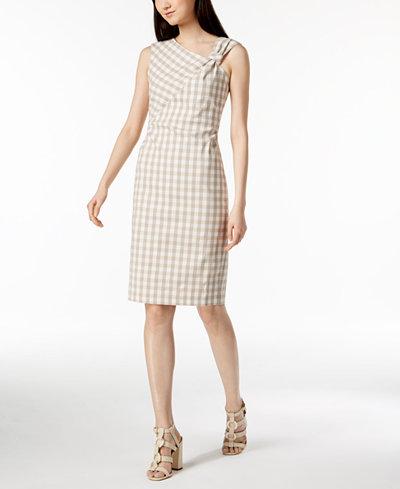 Calvin Klein Gingham Knotted Sheath Dress