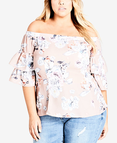City Chic Trendy Plus Size Off-The-Shoulder Flounced Top
