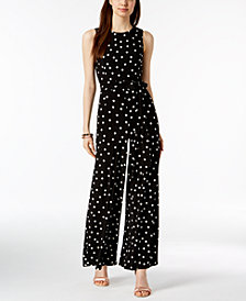 Tommy Hilfiger Sleeveless Polka-Dot Jumpsuit