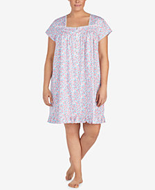 Eileen West Plus Size Venise-Lace-Trim Cotton Knit Nightgown