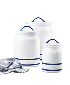 CLOSEOUT! Martha Stewart Collection Blue Rim Set of 3 Canisters, Created for Macy's