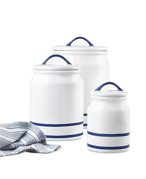 Martha Stewart Collection CLOSEOUT! Blue Rim Set of 3 Canisters, Created for Macy's
