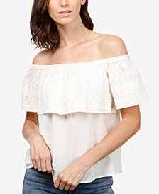 Lucky Brand Cotton Embroidered Off-The-Shoulder Top