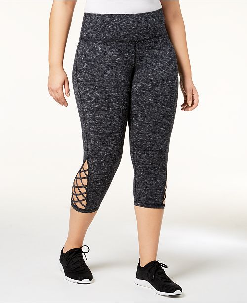 62b397598f6b1 ... Ideology Plus Size Cutout Cropped Leggings, Created for Macy's ...