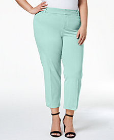 Charter Club Plus Size Newport Tummy-Control Cropped Pants, Created for Macy's