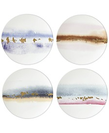 Lenox Watercolor Horizons Microwave Safe  4-Pc. Assorted Tidbit Plate Set,  Created for Macy's