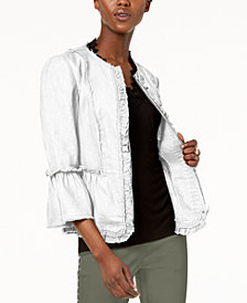 I.N.C. Ruffled Linen Frayed-Trim Jacket, Created for Macy's