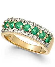 Emerald (7/8 ct. t.w.) & Diamond (1/4 ct. t.w.) Ring in 14k Gold