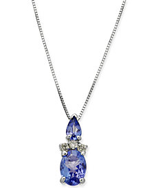 "Tanzanite (1-1/4 ct. t.w.) & Diamond Accent 18"" Pendant Necklace in 14k White Gold"