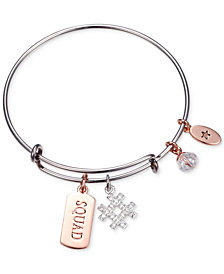 "Unwritten ""Squad"" Hash-Tag Charm Adjustable Bangle Bracelet in Two-Tone Stainless Steel"