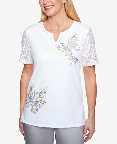 Alfred Dunner Charleston Embroidered Butterfly Top