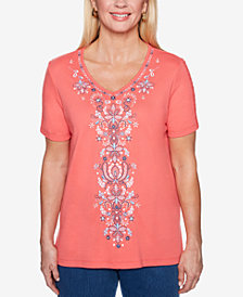 Alfred Dunner Petite Embroidered V-Neck Top