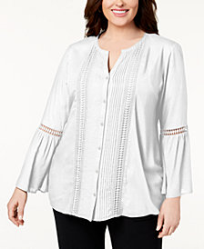 JM Collection Plus Size Bell-Sleeve Shirt, Created for Macy's