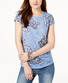 I.N.C. Floral-Print Burnout T-Shirt, Created for Macy's