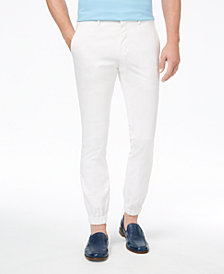 Tallia Orange Men's Modern-Fit Stretch White Solid Jogger Dress Pants
