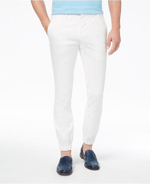 Orange Men's Modern-Fit Stretch White Solid Jogger Dress Pants