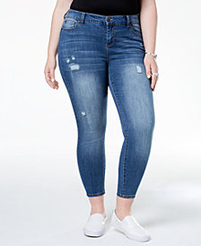 Celebrity Pink Plus Size Distressed Skinny Ankle Jeans