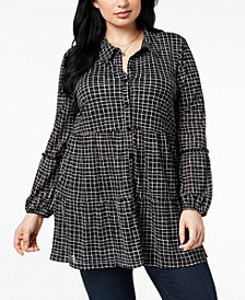 Style & Co Plus Size Printed Relaxed Bubble-Sleeve Tunic, Created for Macy's