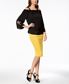 Thalia Sodi Embroidered Off-The-Shoulder Top & Scuba Pencil Skirt, Created for Macy's