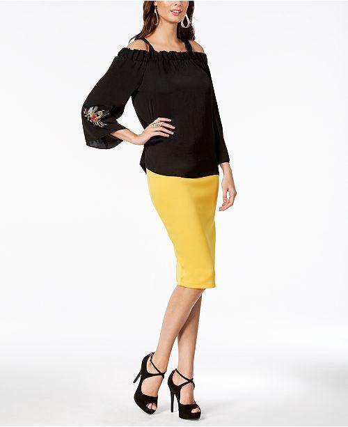 70b67b3d950b5a Thalia Sodi Embroidered Off-The-Shoulder Top   Scuba Pencil Skirt ...