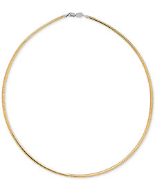 "17"" Reversible Omega 14k Gold over Sterling Silver and Sterling Silver Necklace"
